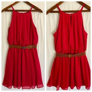Brand new red mini dress with belt